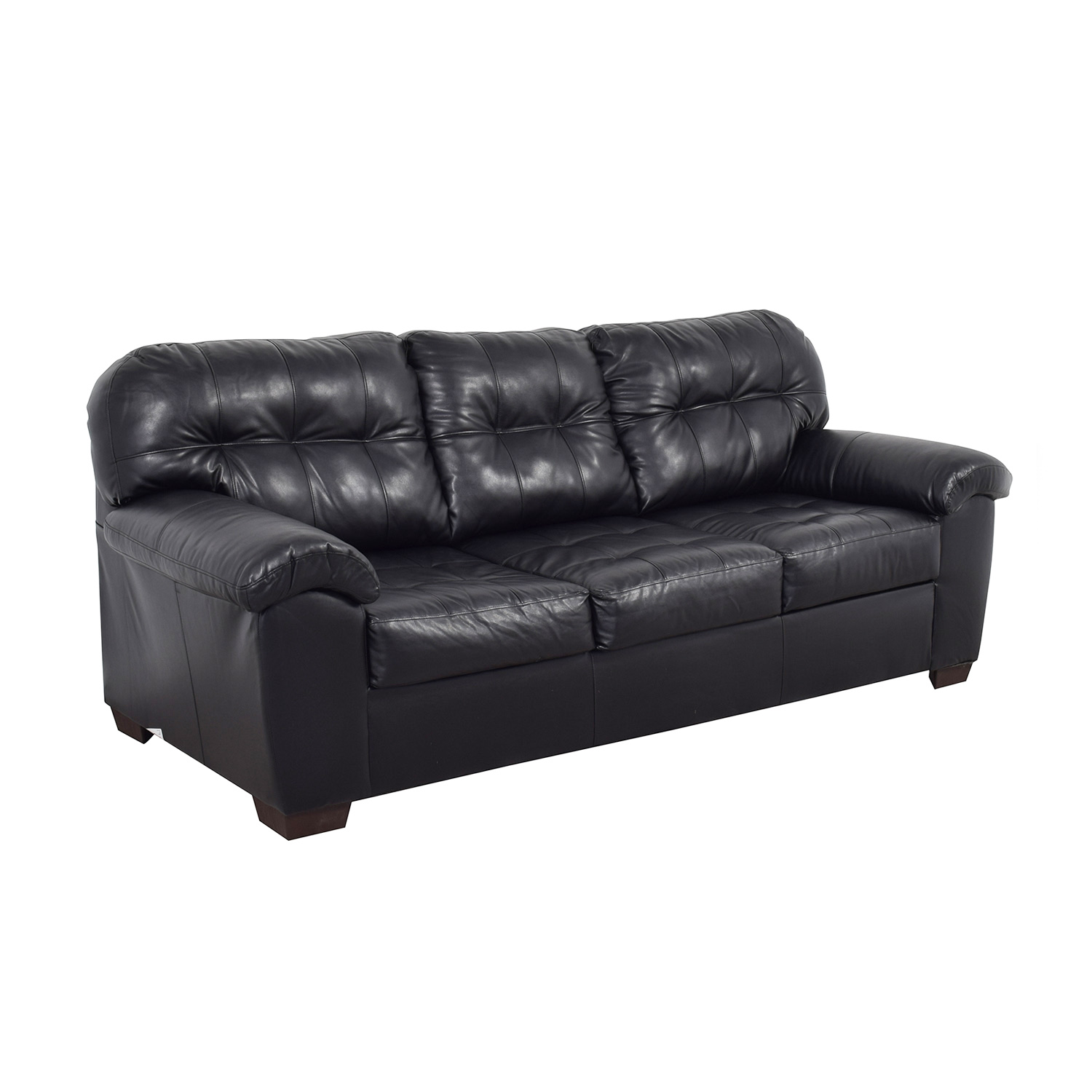 Black Tufted Leather Three Cushion Couch