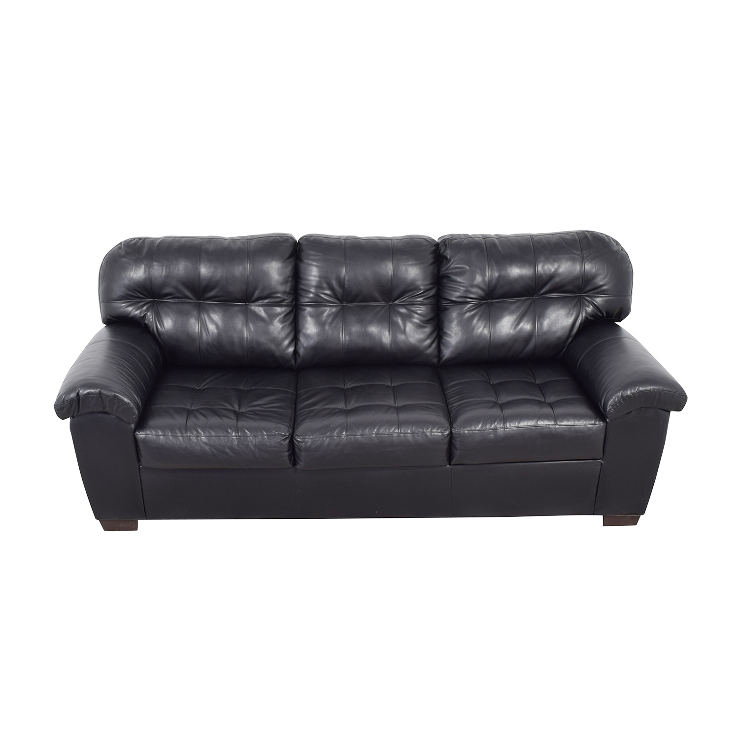 buy Black Tufted Leather Three-Cushion Couch