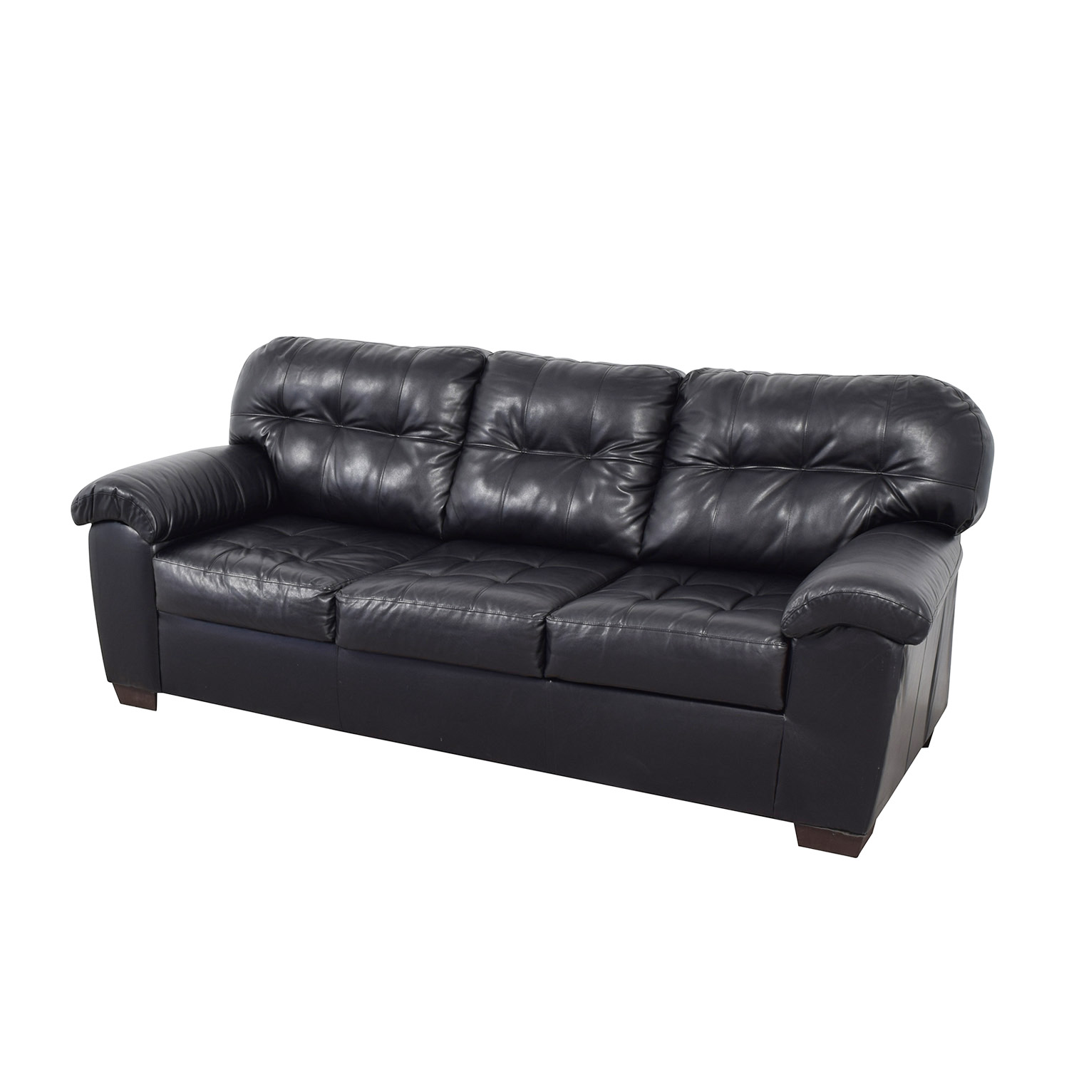 buy Black Tufted Leather Three-Cushion Couch  Classic Sofas