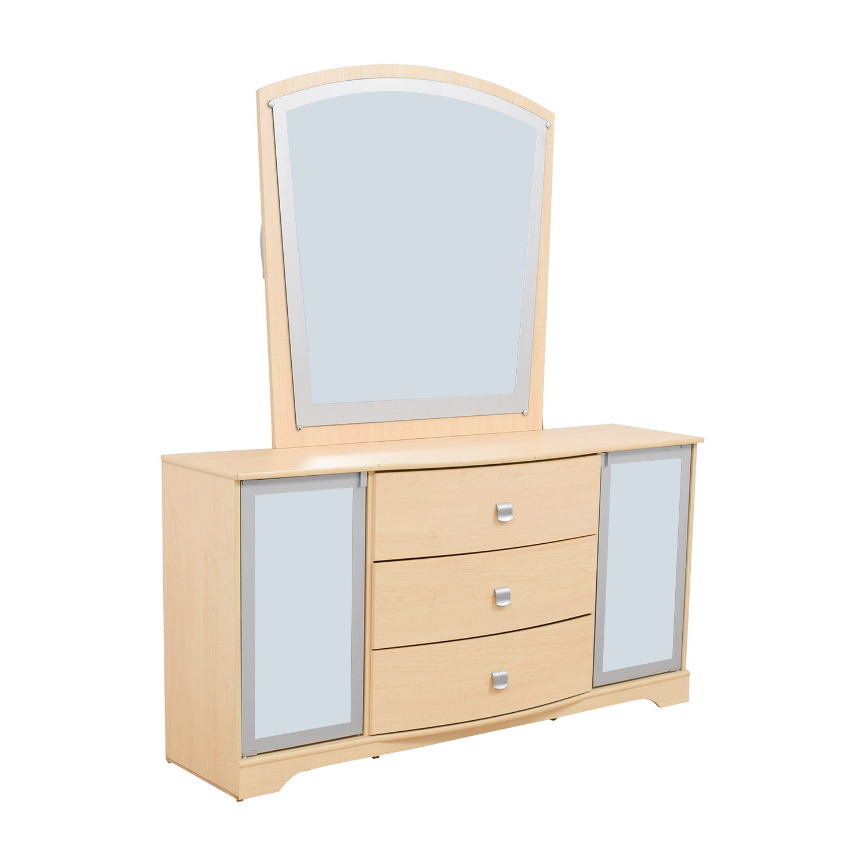shop Ashley Furniture Natural Three-Drawer Dresser with Mirror Ashley Furniture