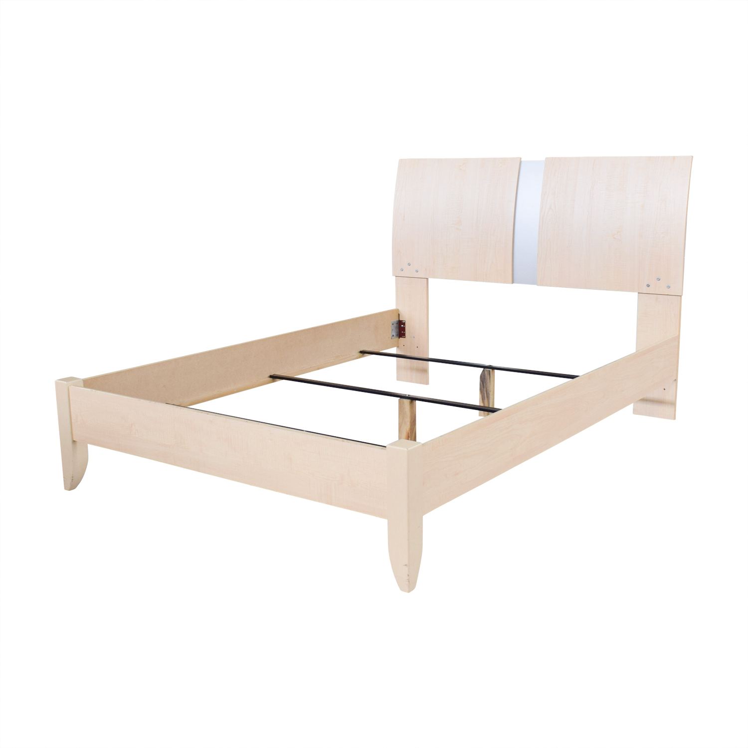 buy Ashley Furniture Ashley Furniture Natural Wood and Chrome Queen Bed Frame online