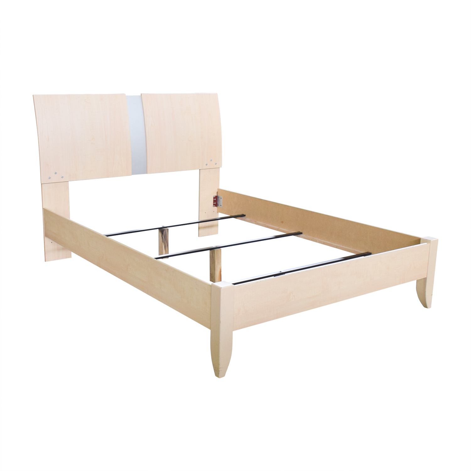 Ashley Furniture Ashley Furniture Natural Wood and Chrome Queen Bed Frame oak