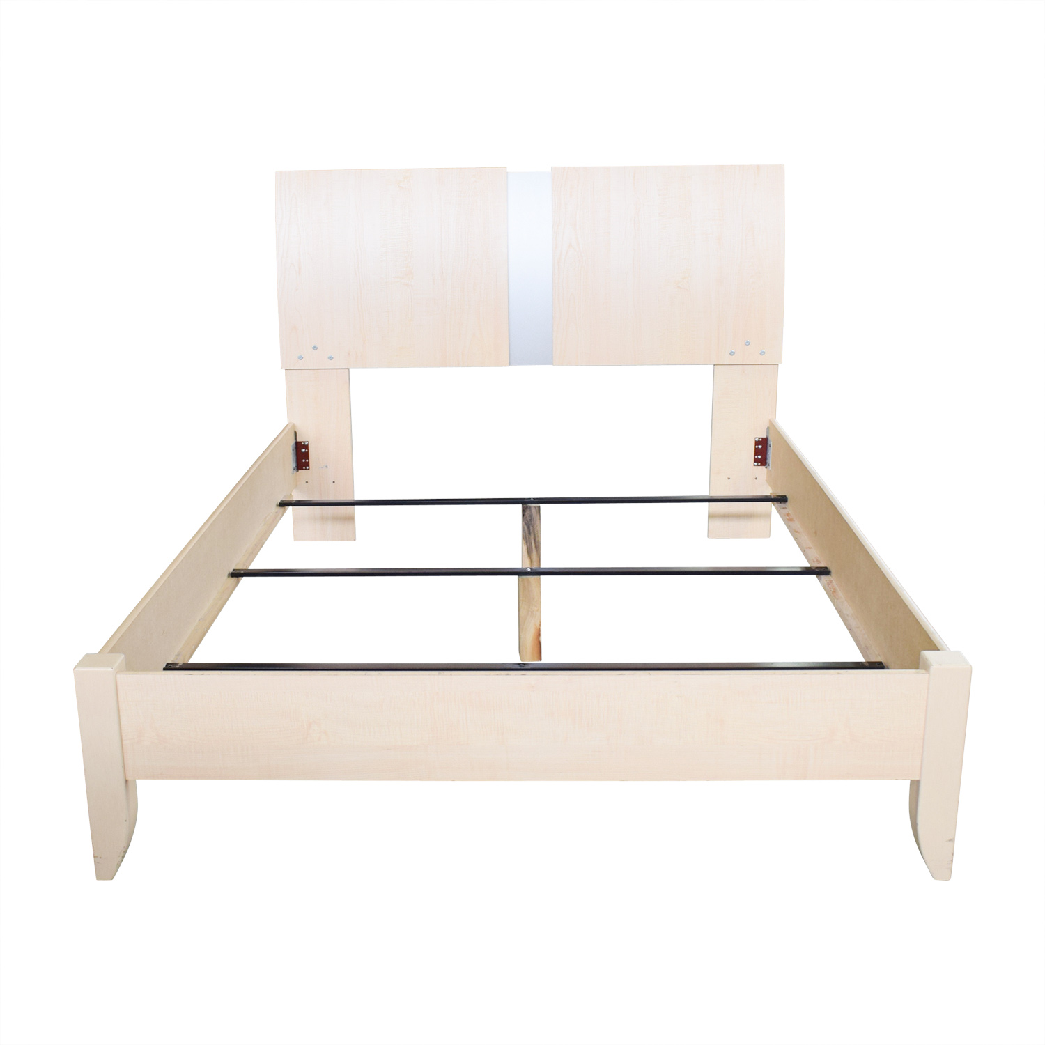 Ashley Furniture Ashley Furniture Natural Wood and Chrome Queen Bed Frame nj