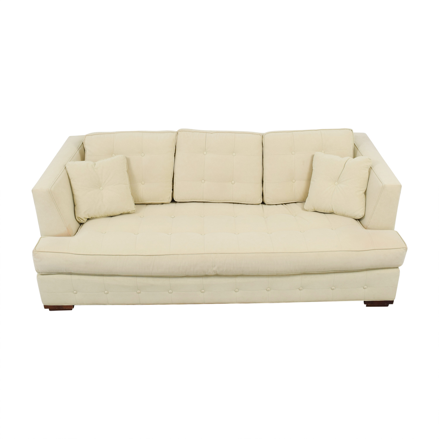 Shop Ethan Allen Pros Beige Tufted Single Cushion Sofa Ethan