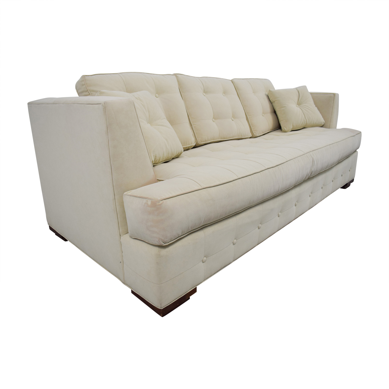 ... Ethan Allen Ethan Allen Profiles Beige Tufted Single Cushion Sofa  Discount ...