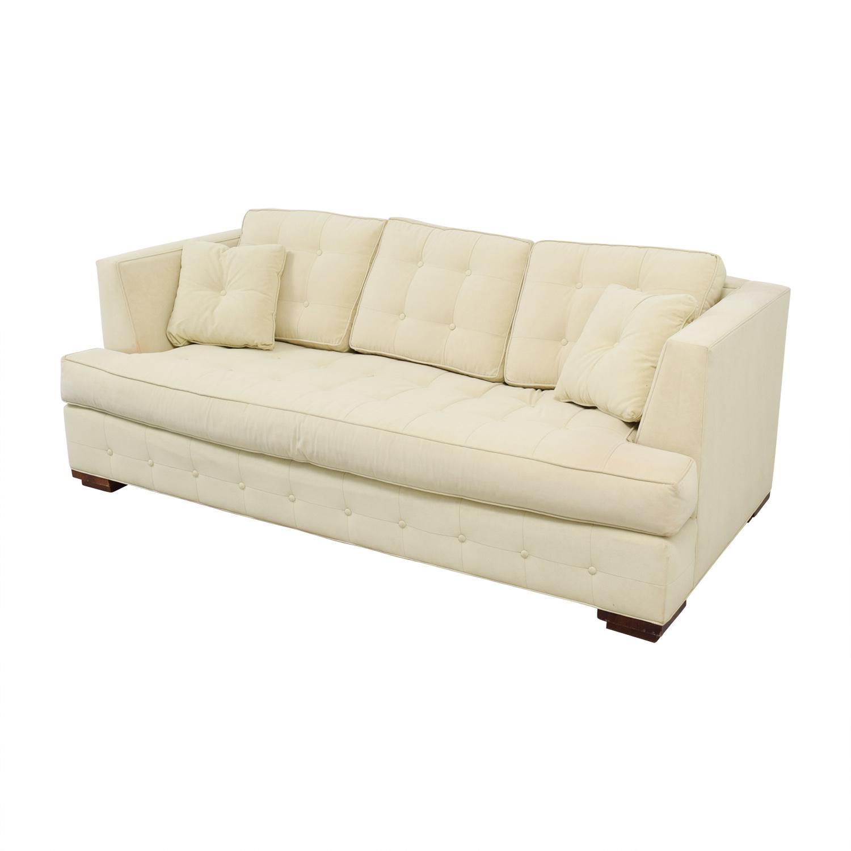shop Ethan Allen Profiles Beige Tufted Single Cushion Sofa Ethan Allen Sofas