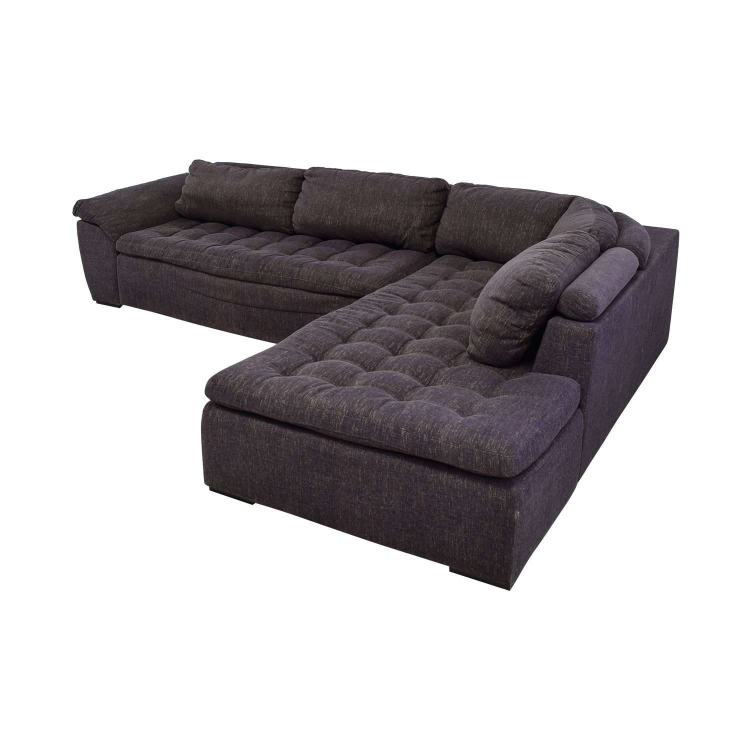 Purple Tufted L-Shaped Sectional / Sofas