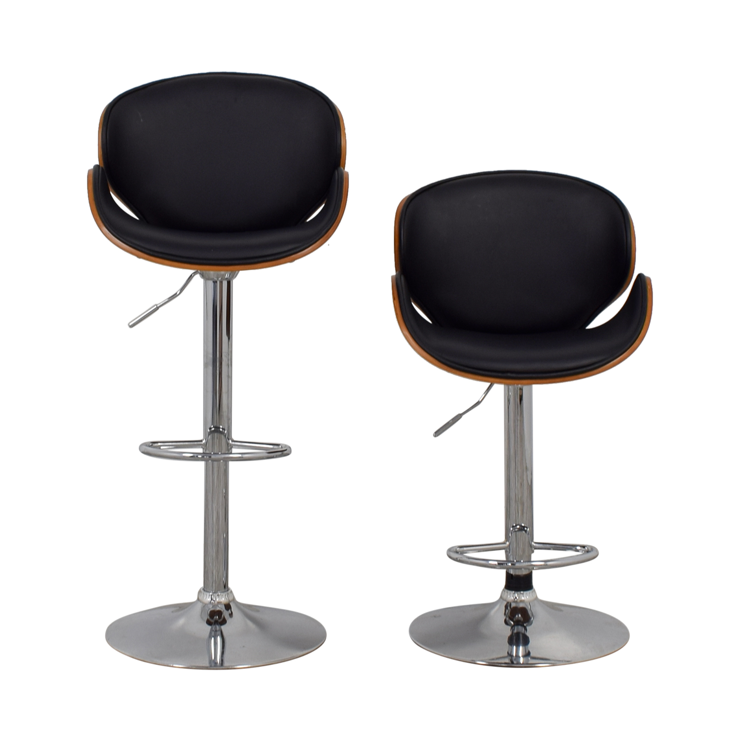 shop Carson Carrington Mid-Century Black and Wood Swivel Stools Carson Carrington