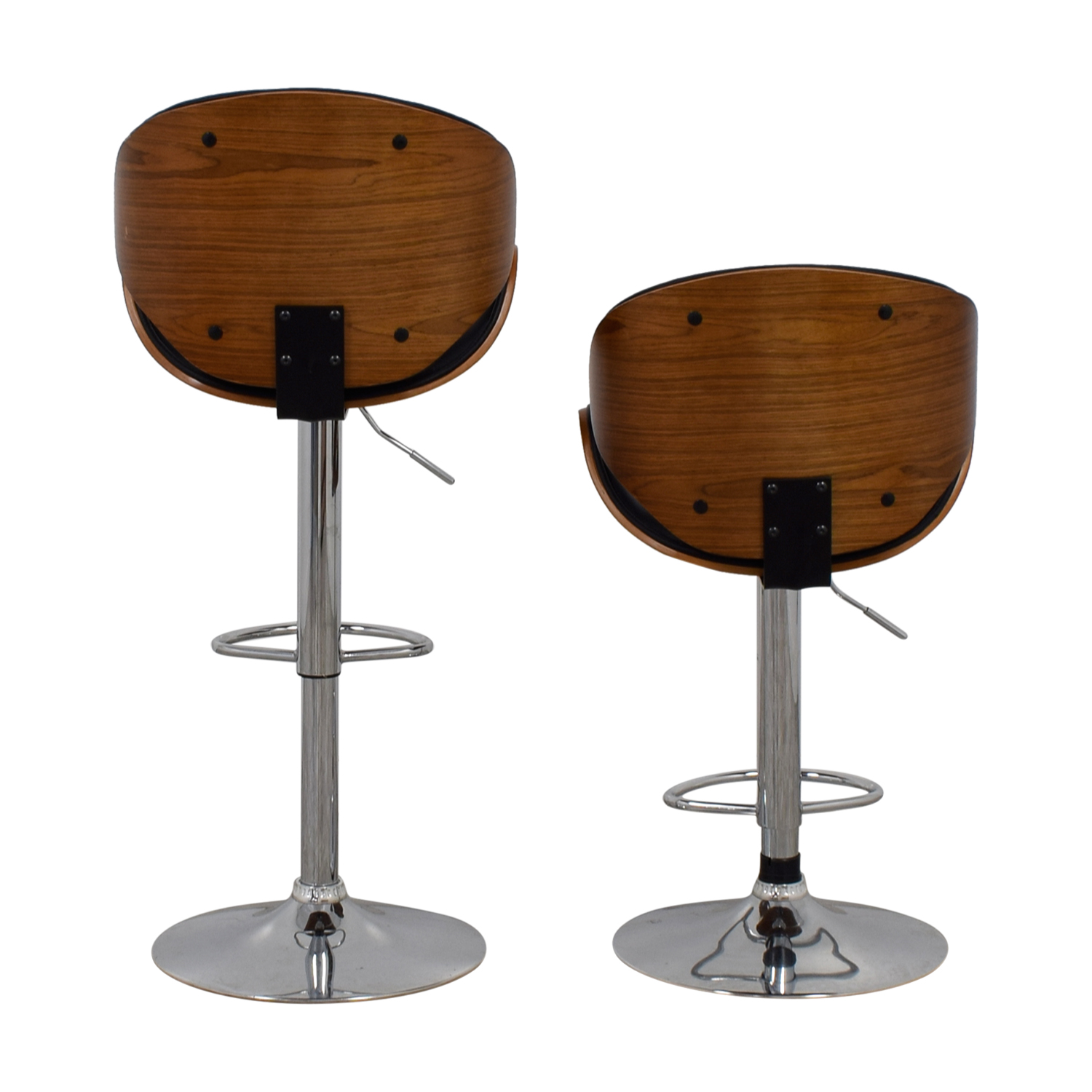 Carson Carrington Carson Carrington Mid-Century Black and Wood Swivel Stools black/brown