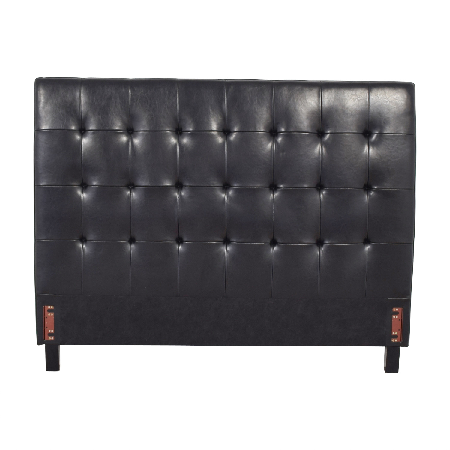 Pasha Pasha Tufted Black Leather Queen Headboard Black