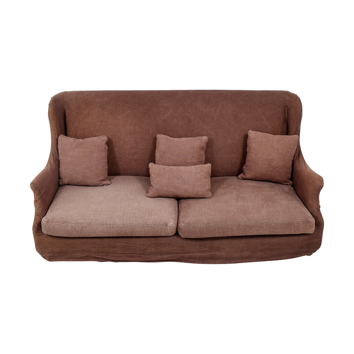 ABC Carpet & Home ABC Carpet & Home Brown Washed Linen Slipcovered Sofa Sofas
