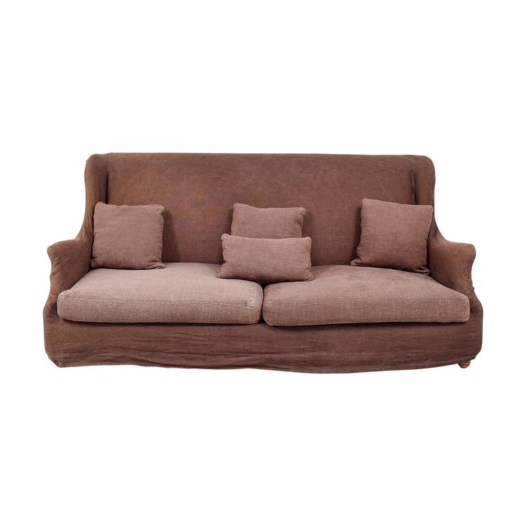 ABC Carpet & Home ABC Carpet & Home Brown Washed Linen Slipcovered Sofa nj
