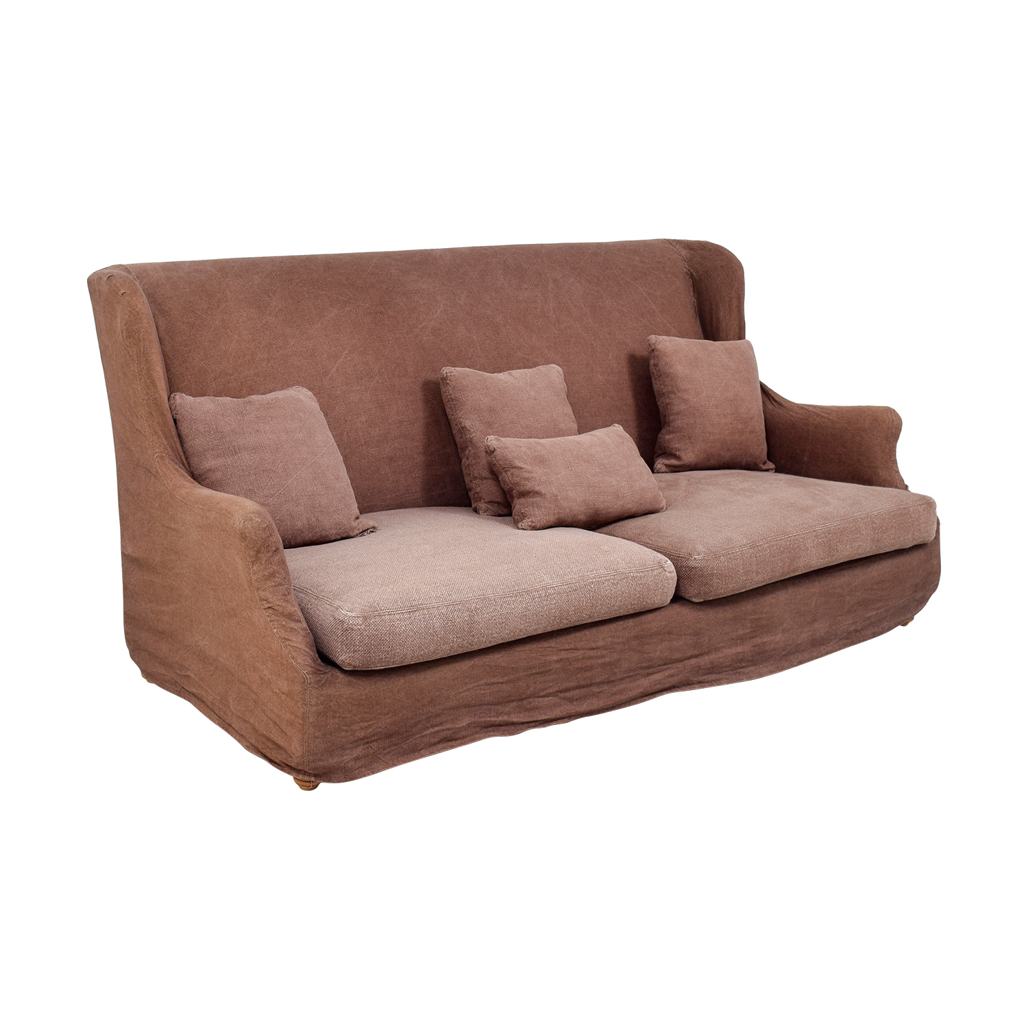 62% OFF - ABC Carpet & Home ABC Carpet & Home Brown Washed Linen  Slipcovered Sofa / Sofas