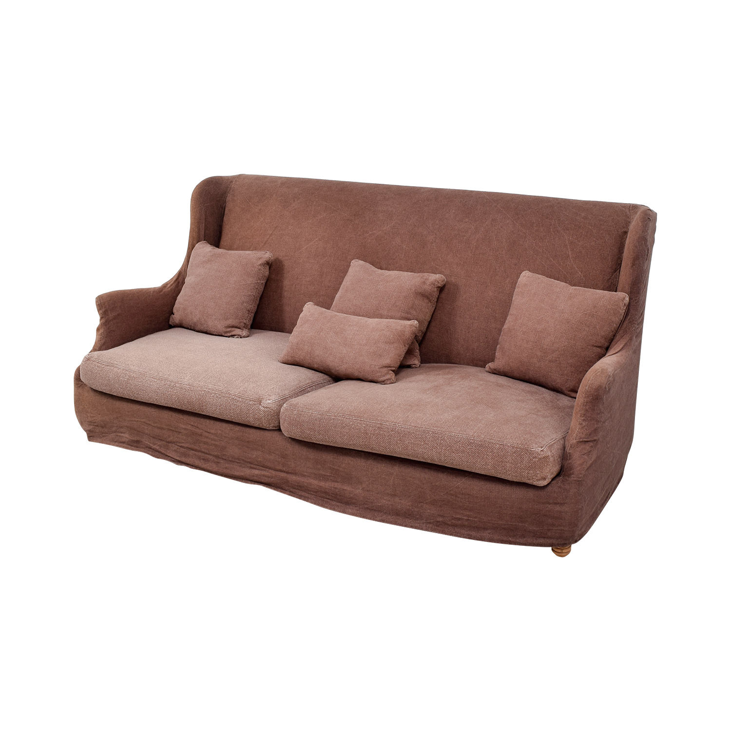 ABC Carpet & Home ABC Carpet & Home Brown Washed Linen Slipcovered Sofa price