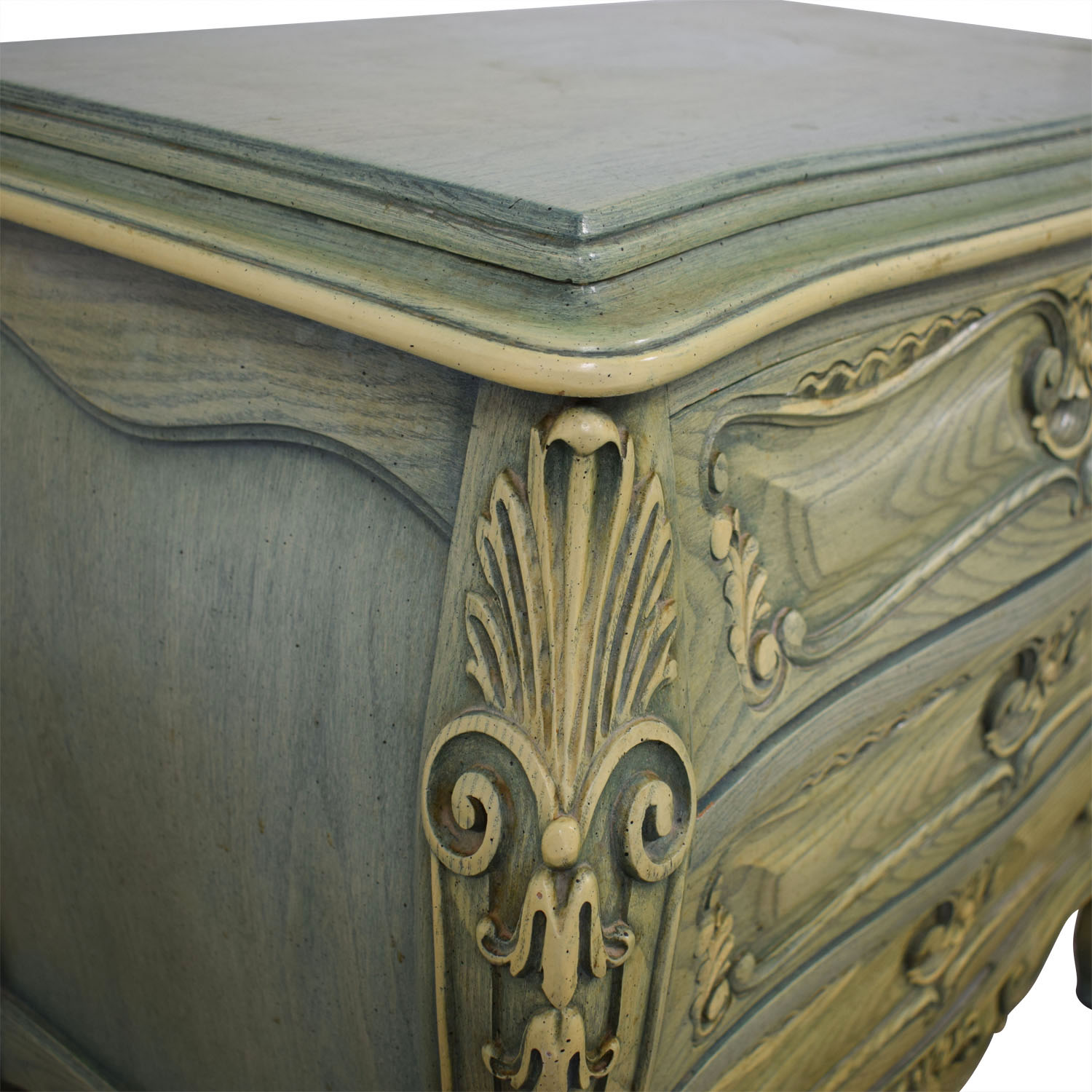 French Provincial Green Three-Drawer Nightstand second hand