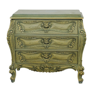 French Provincial Green Three-Drawer Nightstand for sale