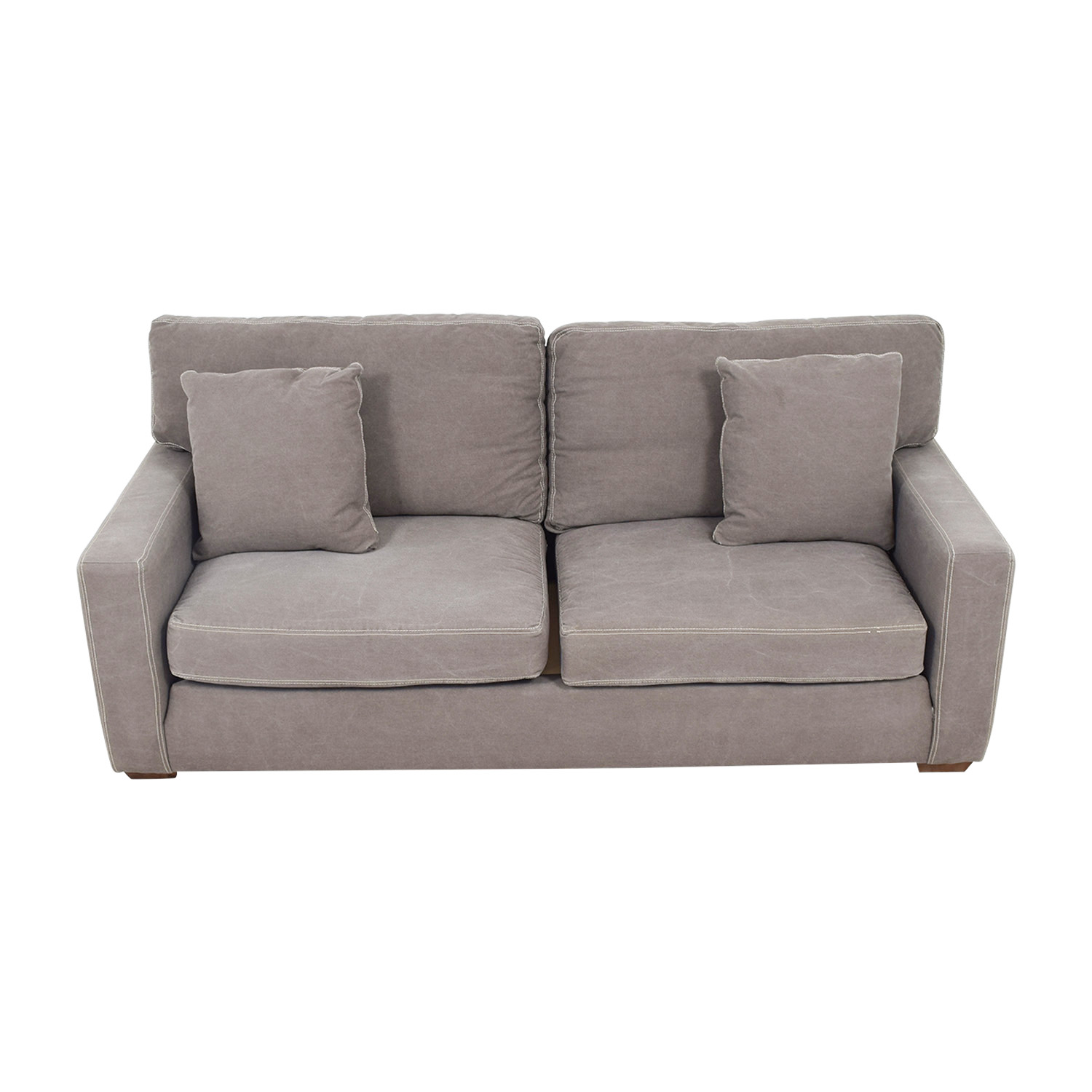 shop Klaussner Grey Canvas Two Cushion Sofa Klaussner Classic Sofas