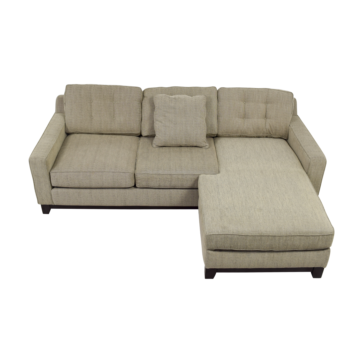 shop Radley Beige Semi-Tufted Chaise Sectional Radley Sectionals