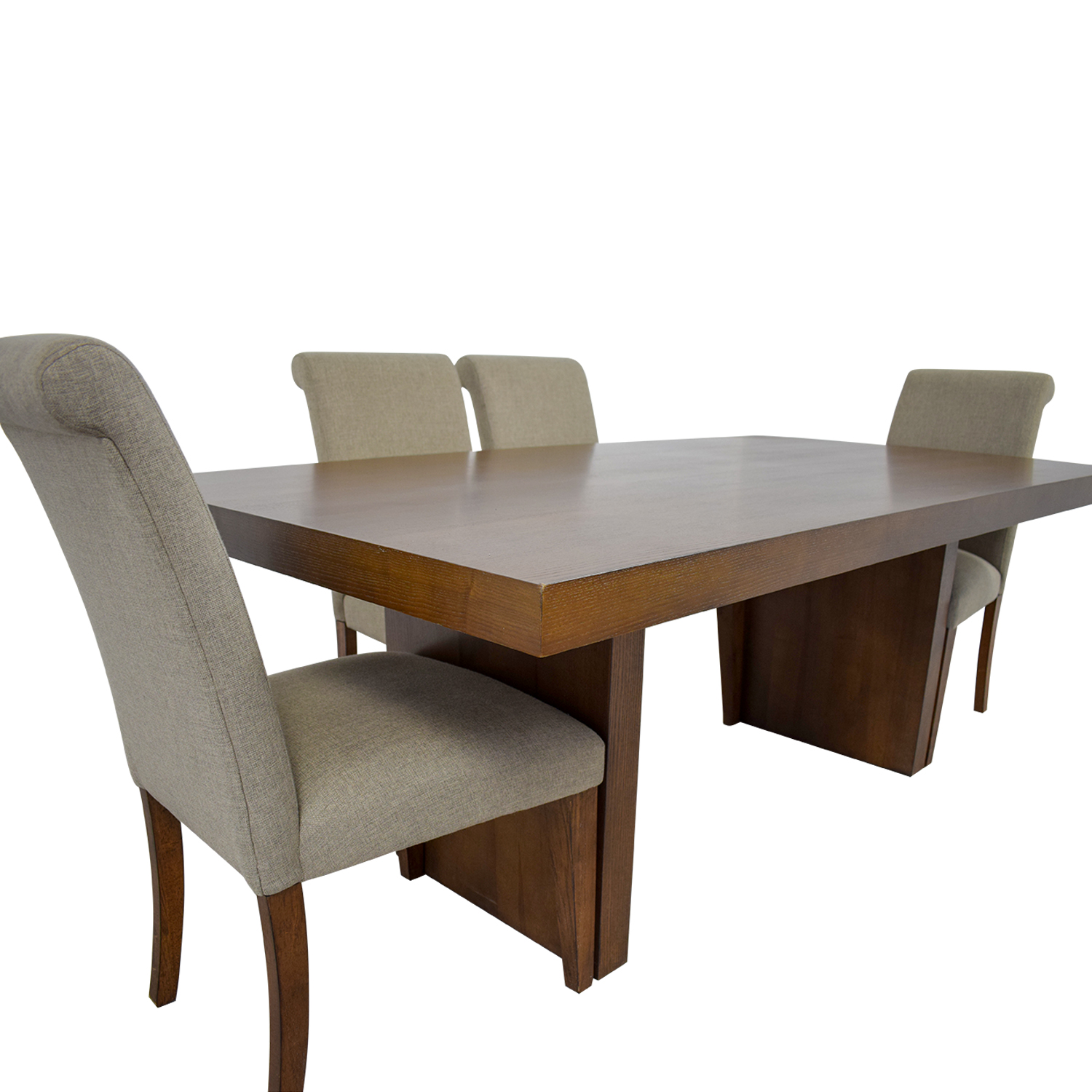 Macy's Wood Dining Set with Upholstered Chairs Macy's