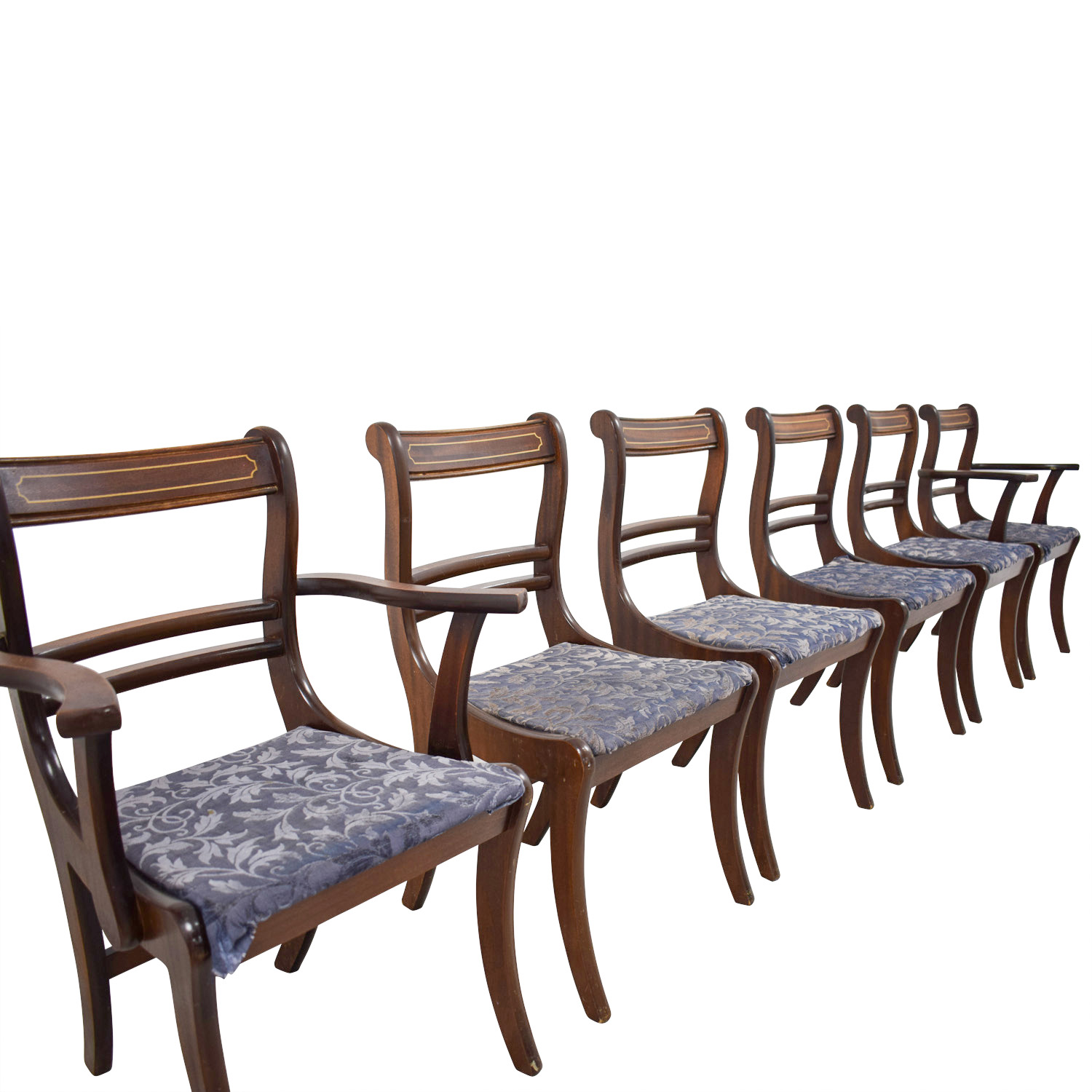 Wood Dining Chairs with Removable Blue Cushions for sale