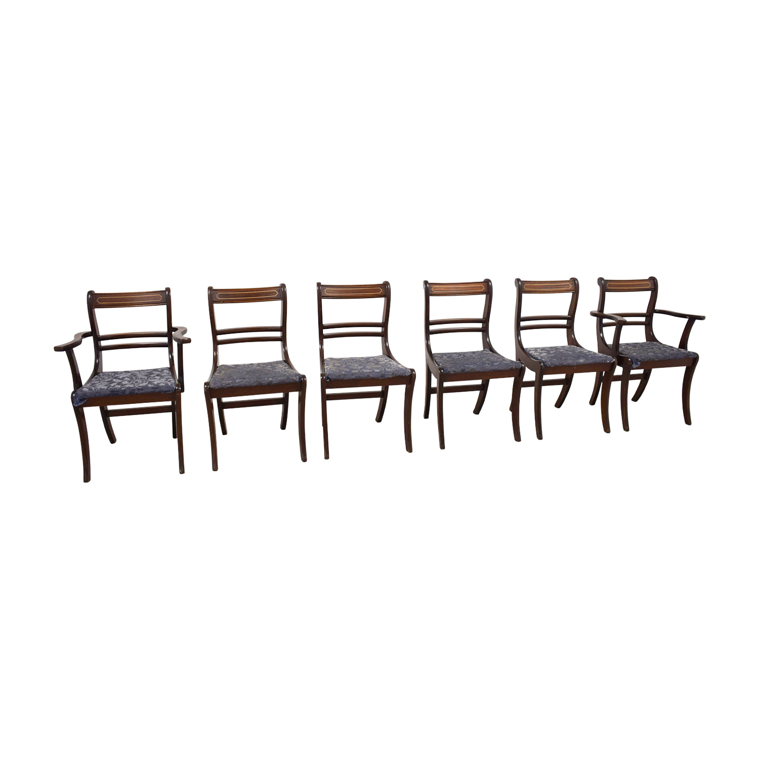 Wood Dining Chairs with Removable Blue Cushions on sale