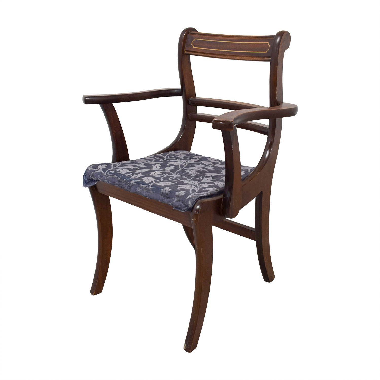 Wood Dining Chairs with Removable Blue Cushions Chairs