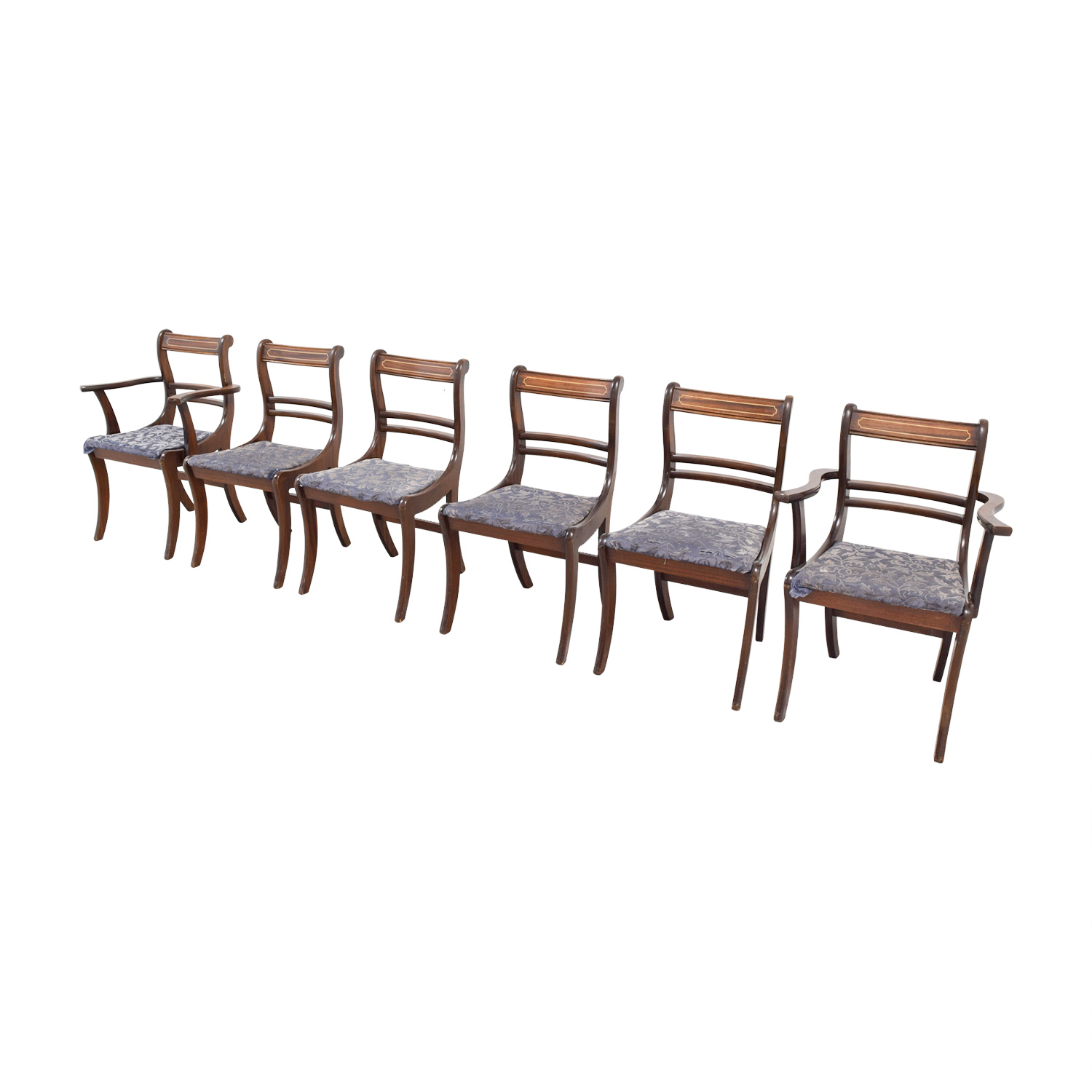 Wood Dining Chairs with Removable Blue Cushions second hand