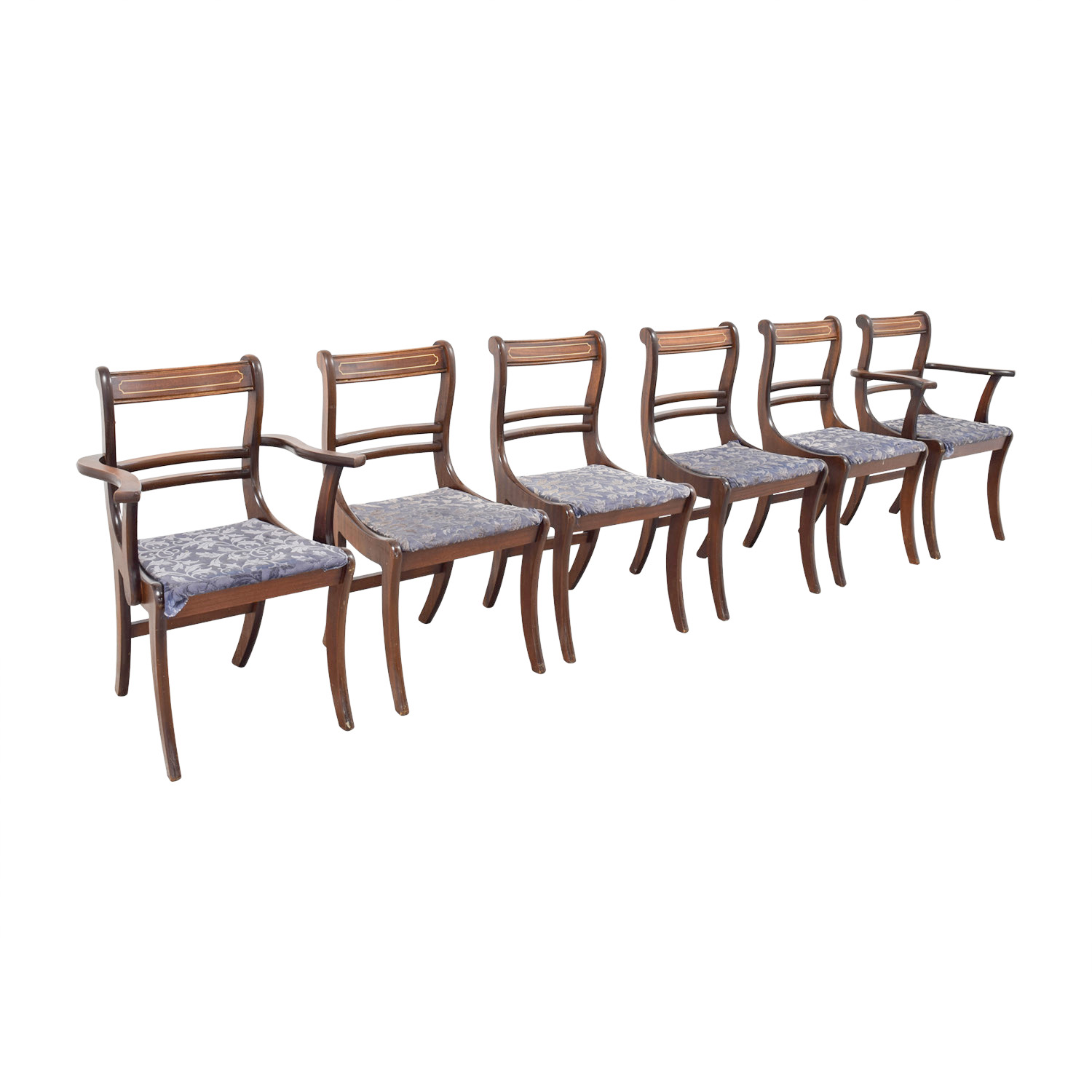 Wood Dining Chairs with Removable Blue Cushions sale