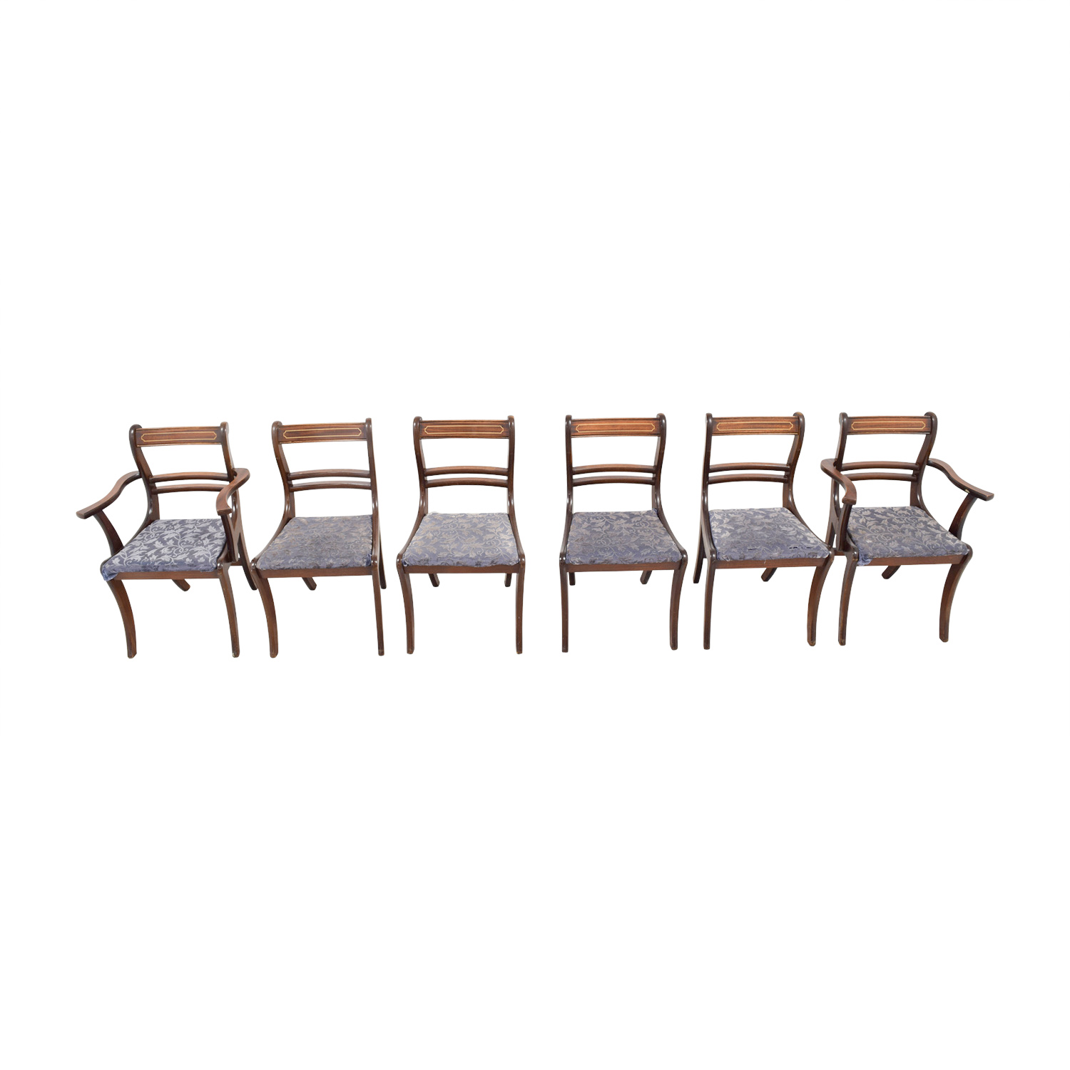 Wood Dining Chairs with Removable Blue Cushions used