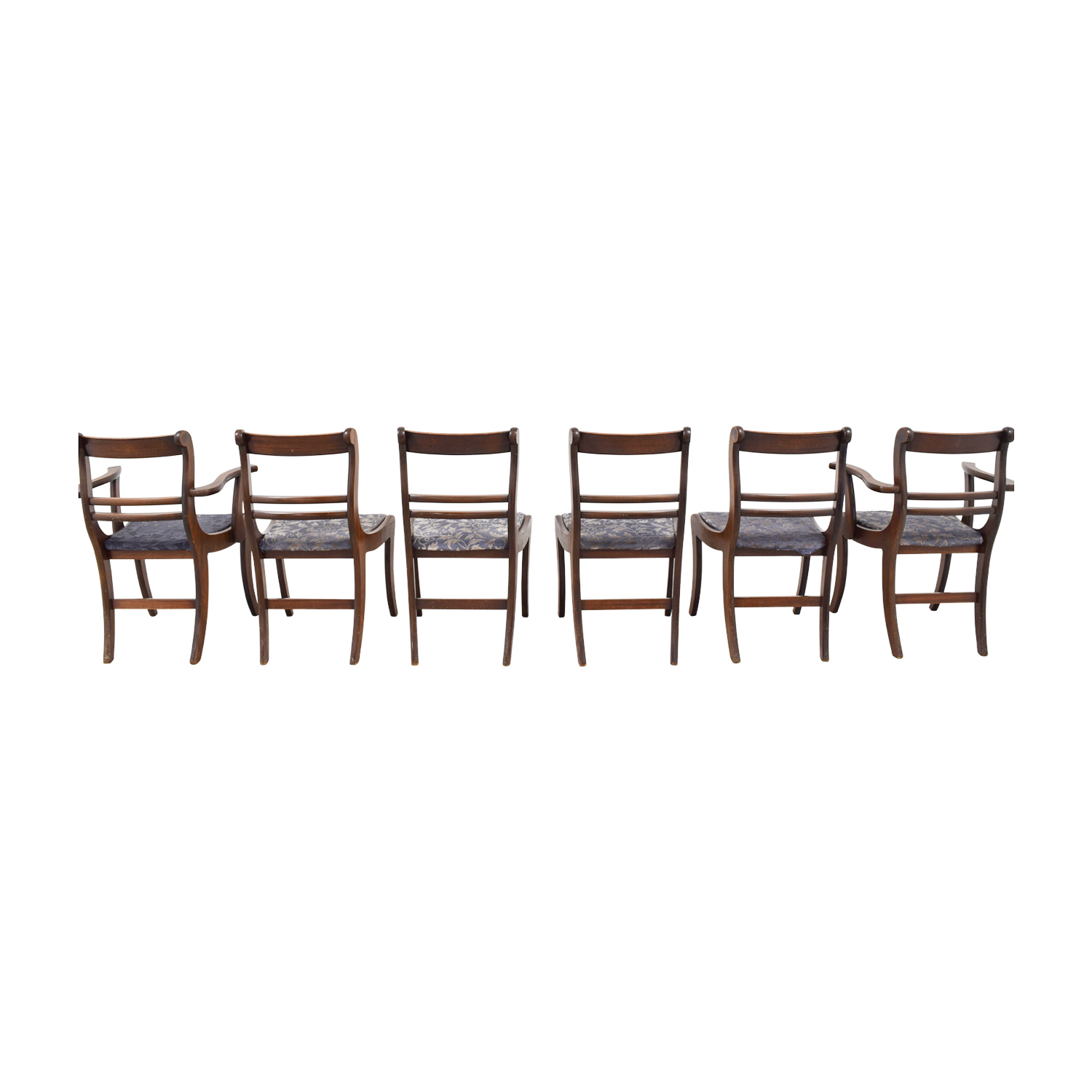 Wood Dining Chairs with Removable Blue Cushions nyc