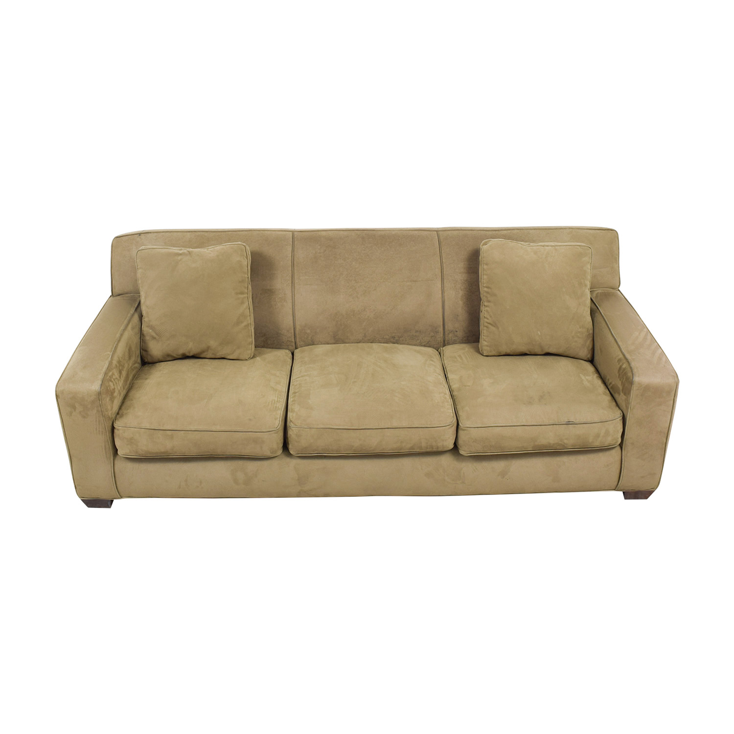 Crate Barrel Axis Ii Brown Three Cushion Sofa Online