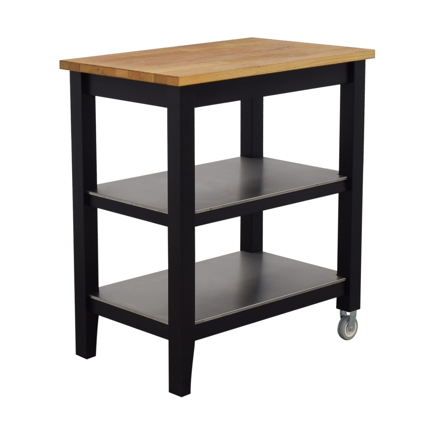 Ikea Stenstorp Wood And Black Kitchen Island Cart