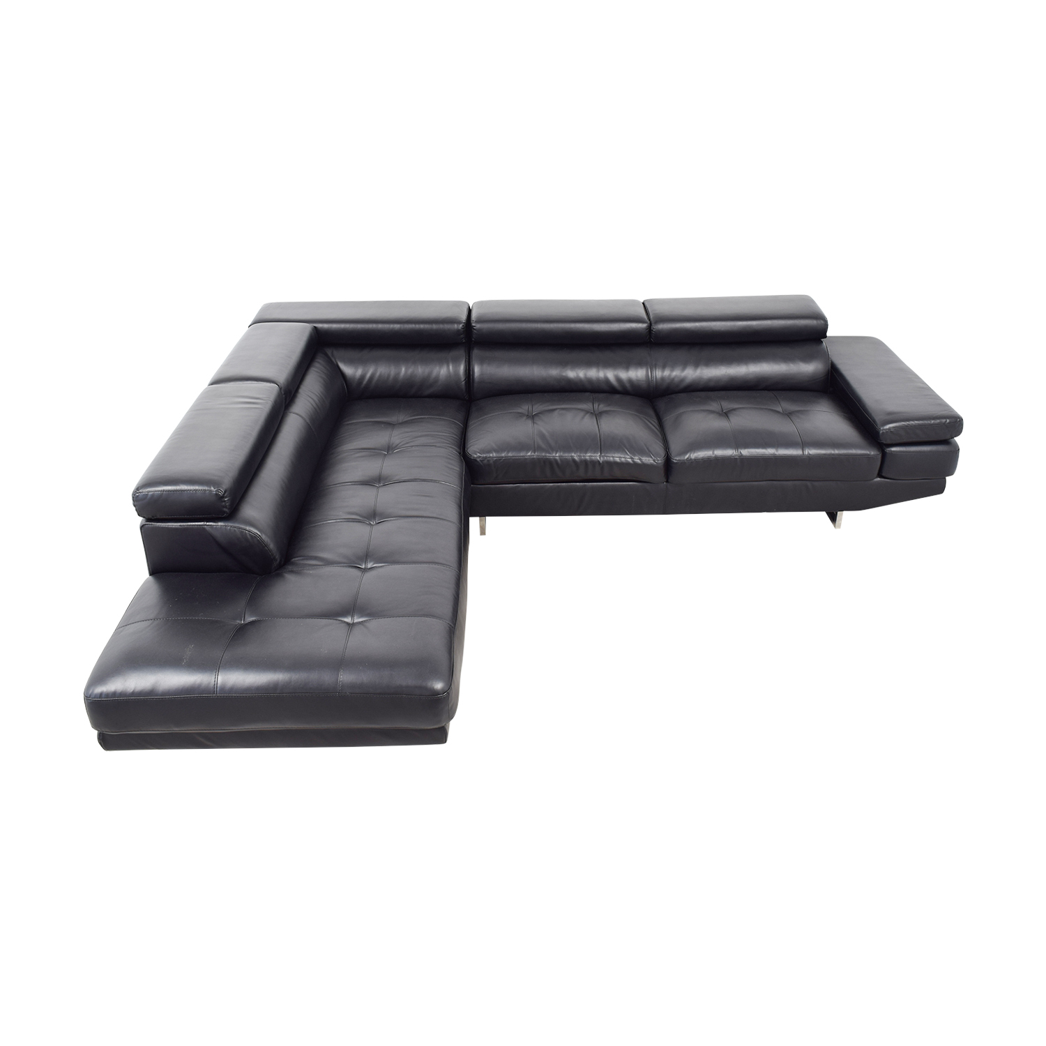Brayden Studio Brayden Studio Black Tufted Leather Sectional Black