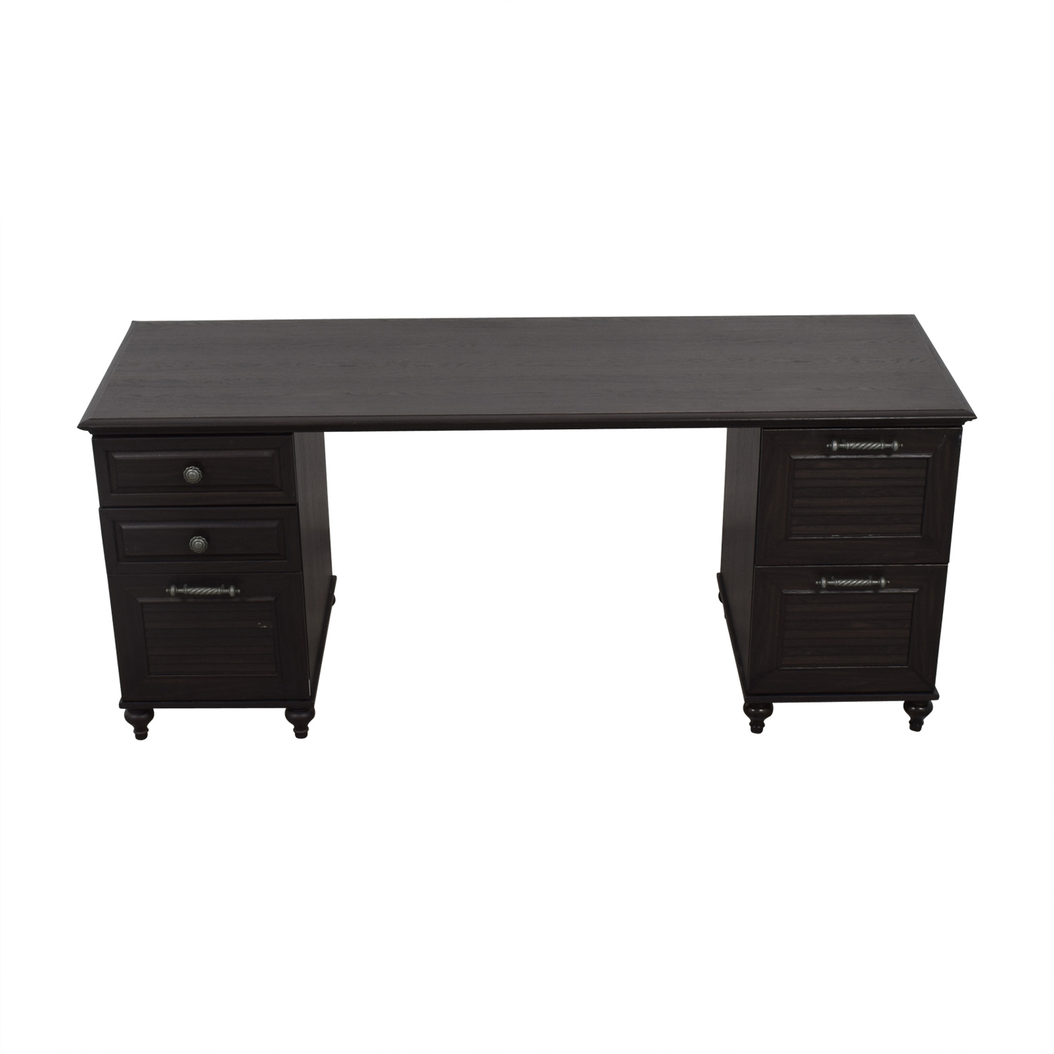 Cathy Ireland Black Desk With File Cabinets