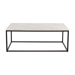 White Marble Top and Metal Base Coffee Table discount