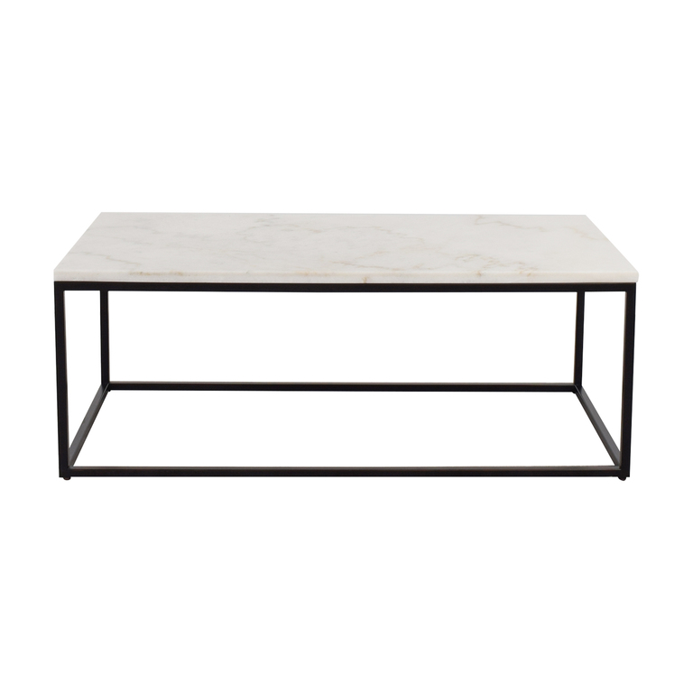 White Marble Top and Metal Base Coffee Table used