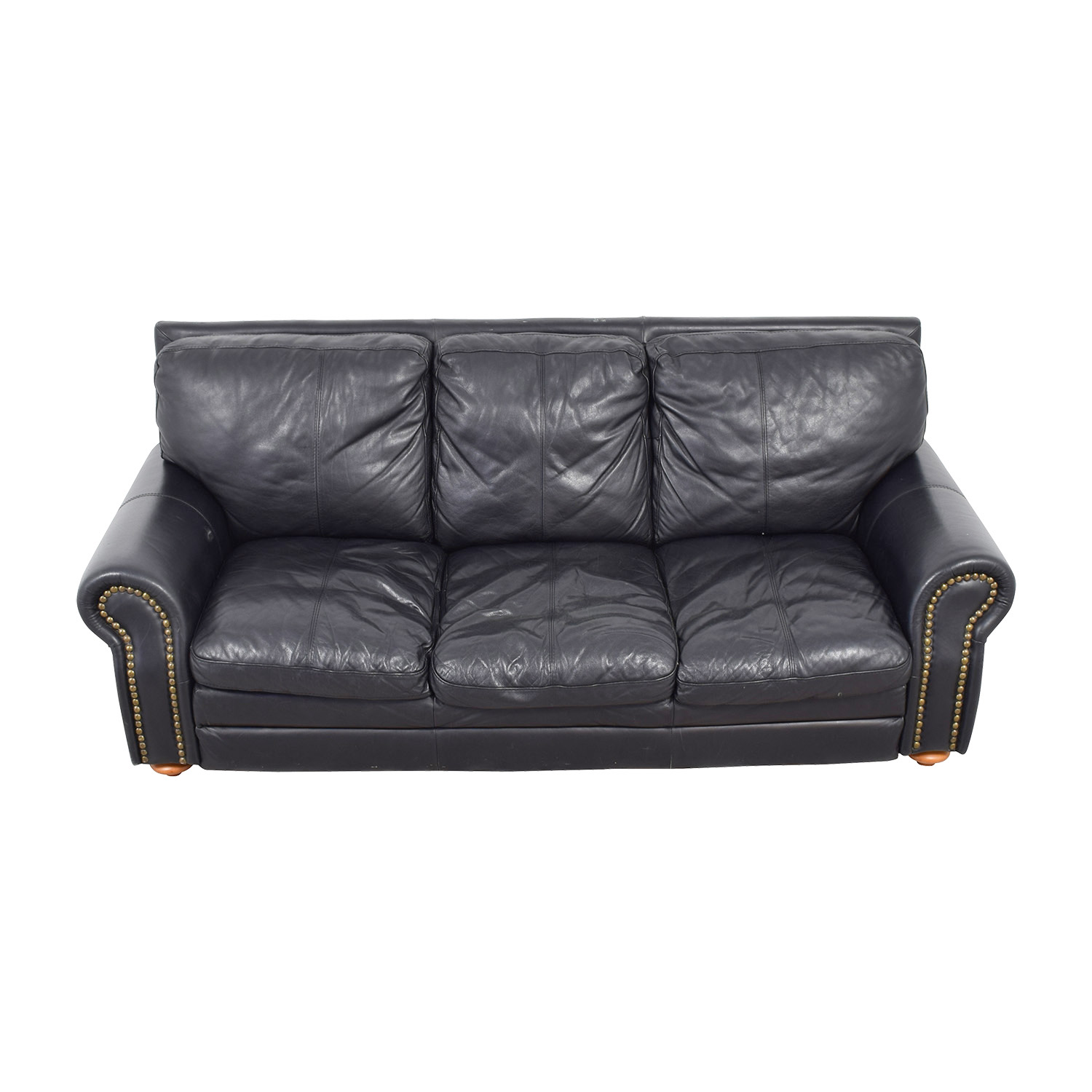 Nicoletti Nicoletti Black Leather Nailhead Three-Cushion Sofa Classic Sofas