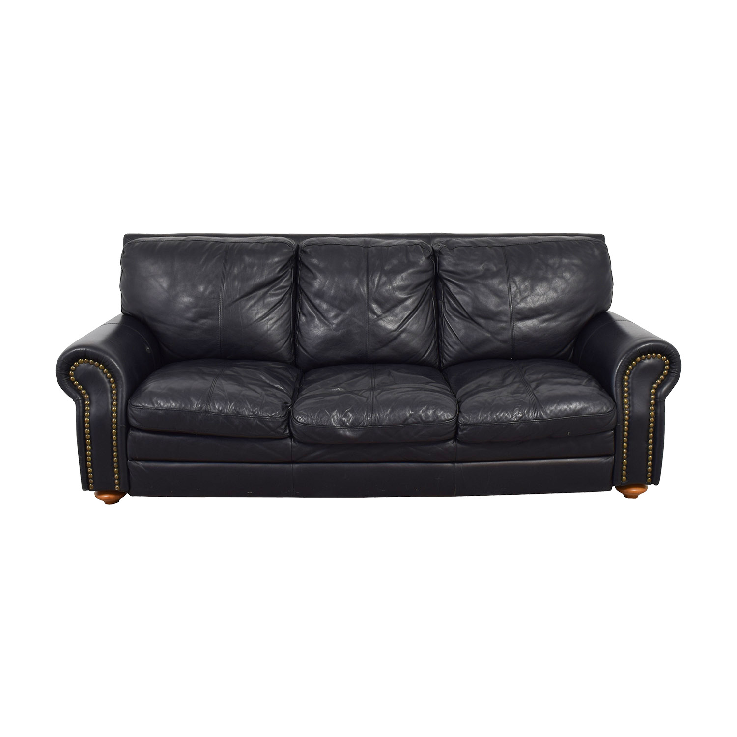 shop Nicoletti Black Leather Nailhead Three-Cushion Sofa Nicoletti Classic Sofas