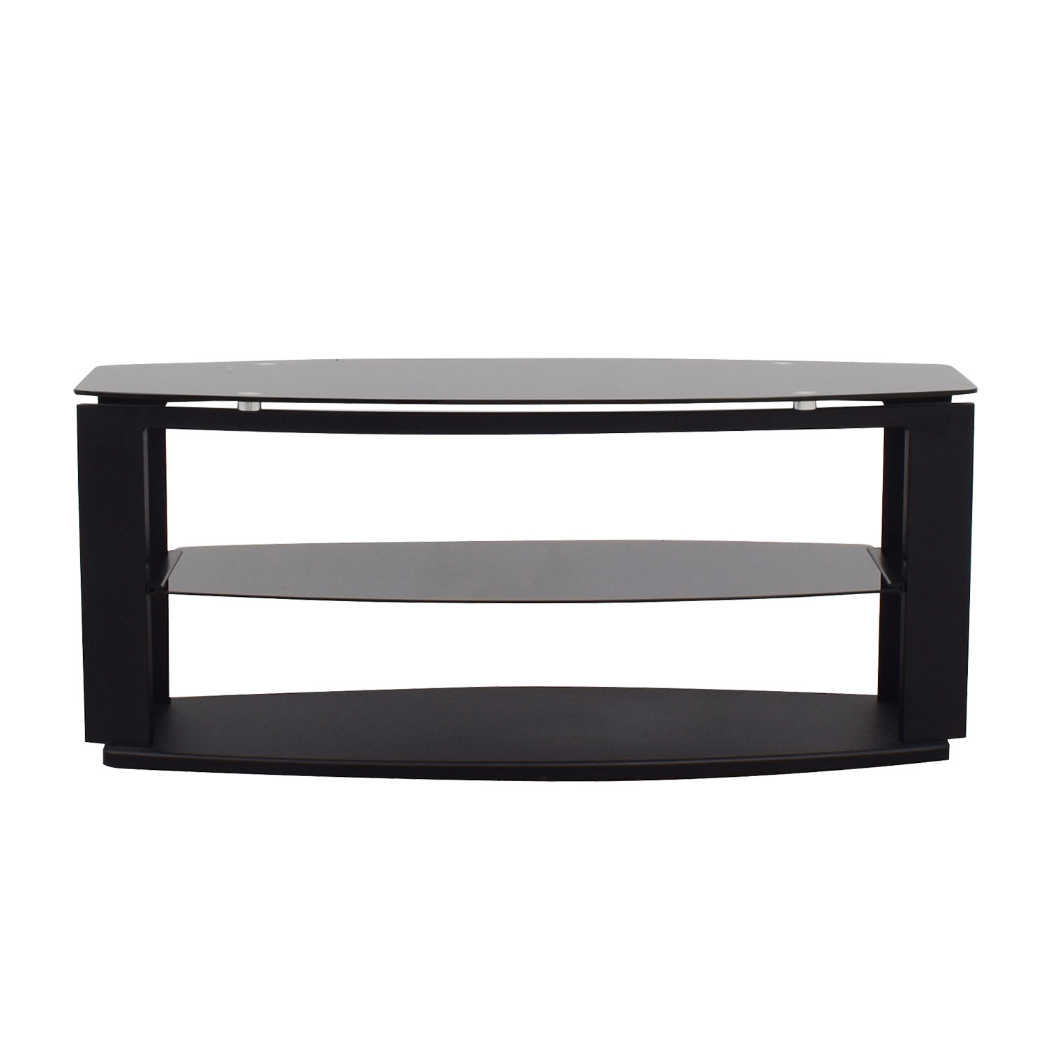 shop Modani Black Glass and Metal TV Stand Modani Storage