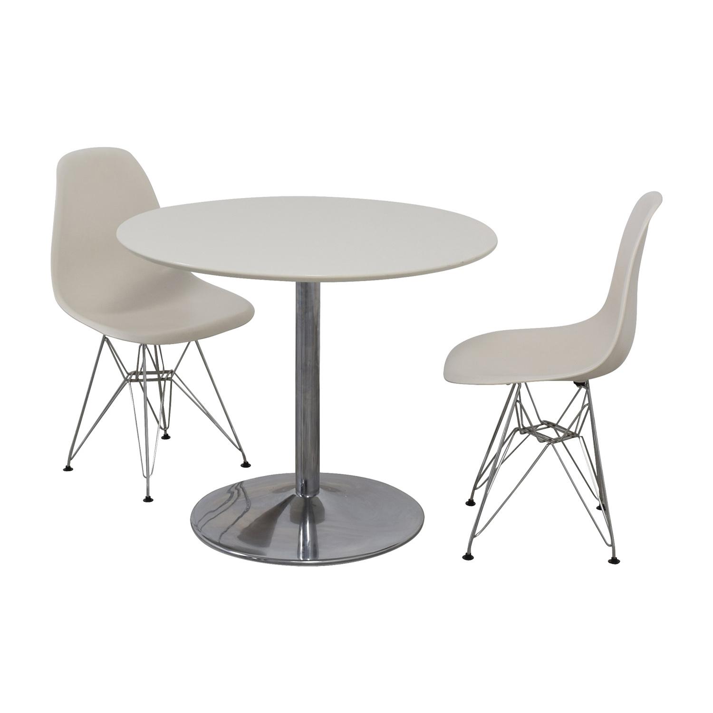 White Round Kitchen Table Set for sale
