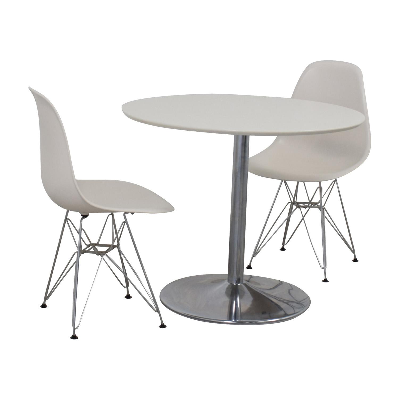 White Round Kitchen Table Set on sale