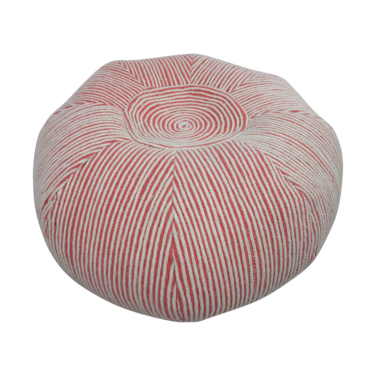 West Elm Pink and White Striped Poof West Elm