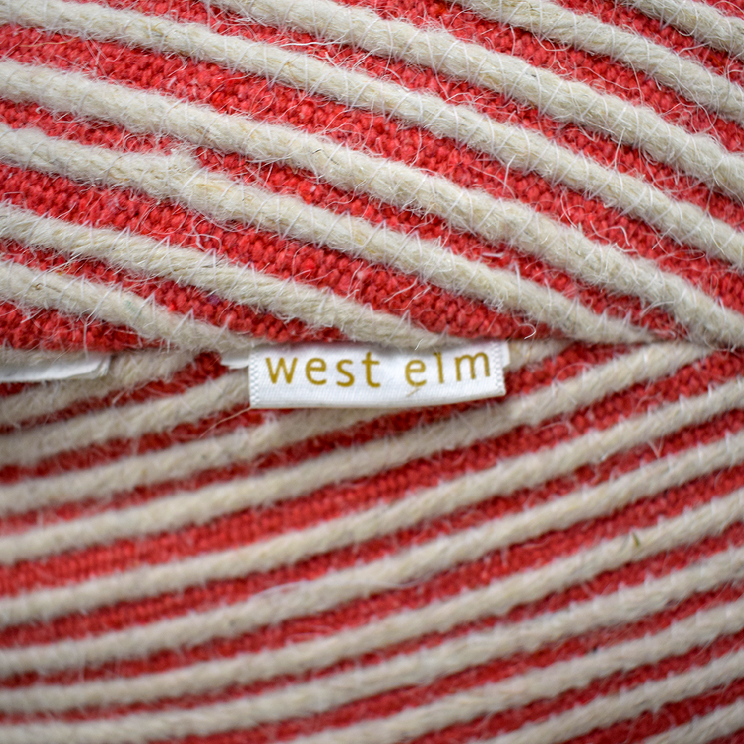 West Elm West Elm Pink and White Striped Poof Ottomans