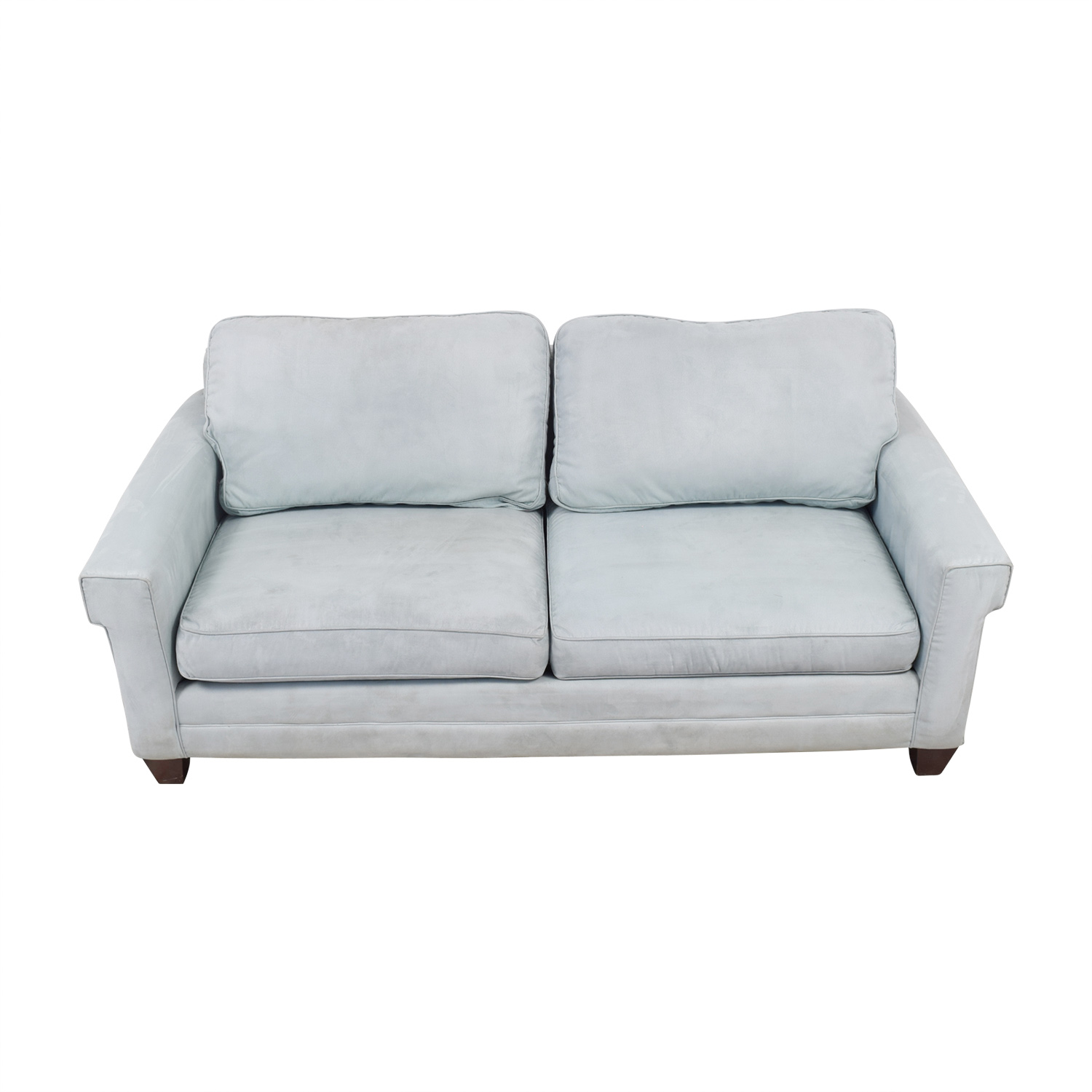 Bassett Bassett Light Blue Micro Fiber Two Cushion Couch Dimensions