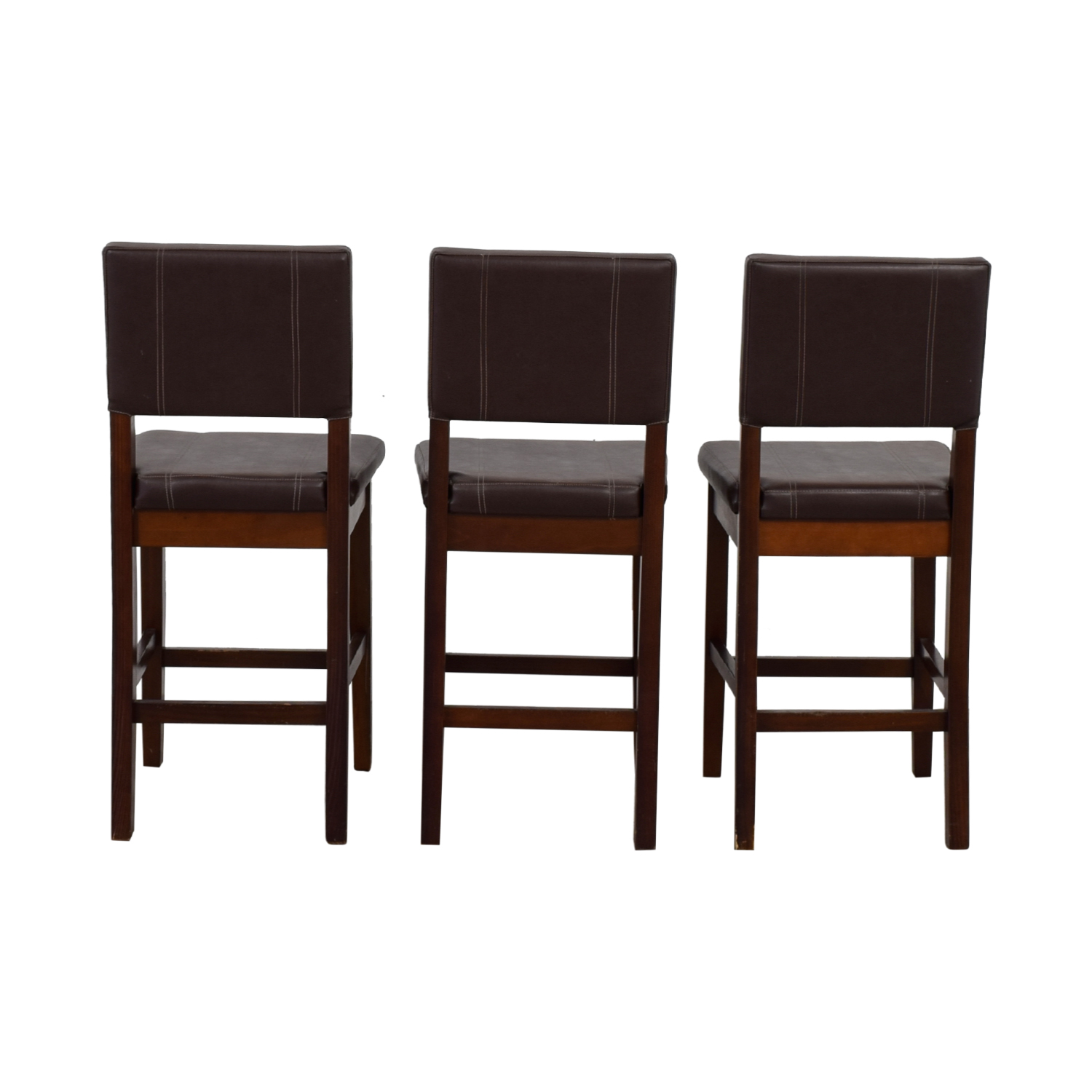Pier 1 Imports Pier 1 Imports Brown Leather Stools Dark Brown, Brown