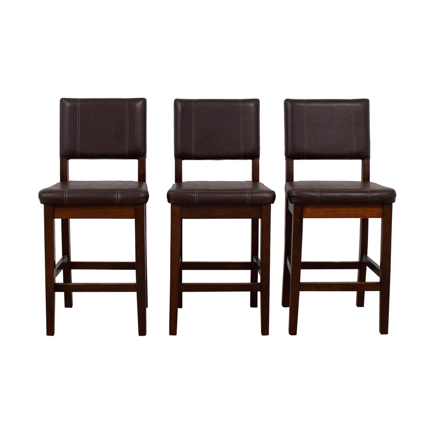 Pier 1 Imports Pier 1 Imports Brown Leather Stools used