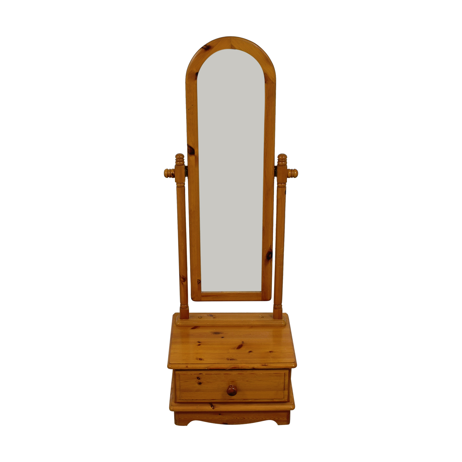 Pine  Vanity Floor Mirror with Single Drawer nj