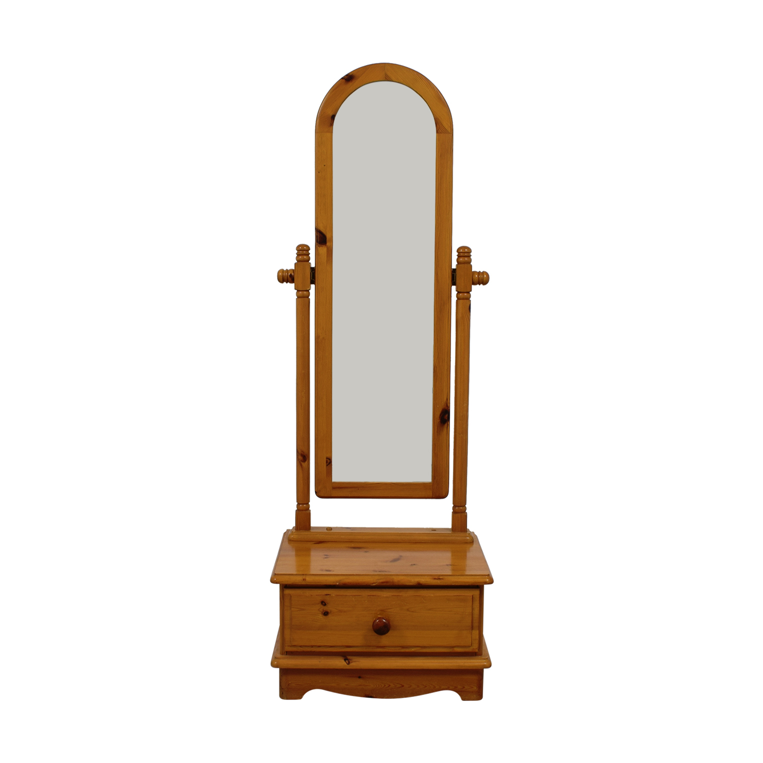 Pine  Vanity Floor Mirror with Single Drawer price