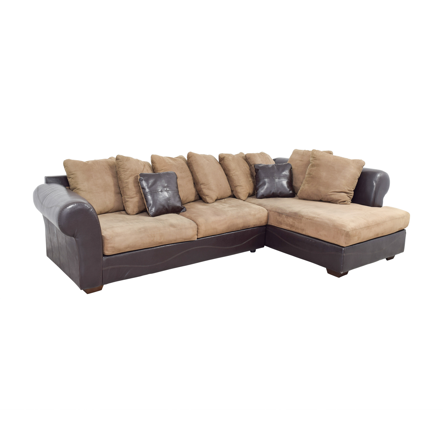 Ashley Furniture Ashley Furniture Brown Leather and Tan Microfiber Chaise Sectional nj