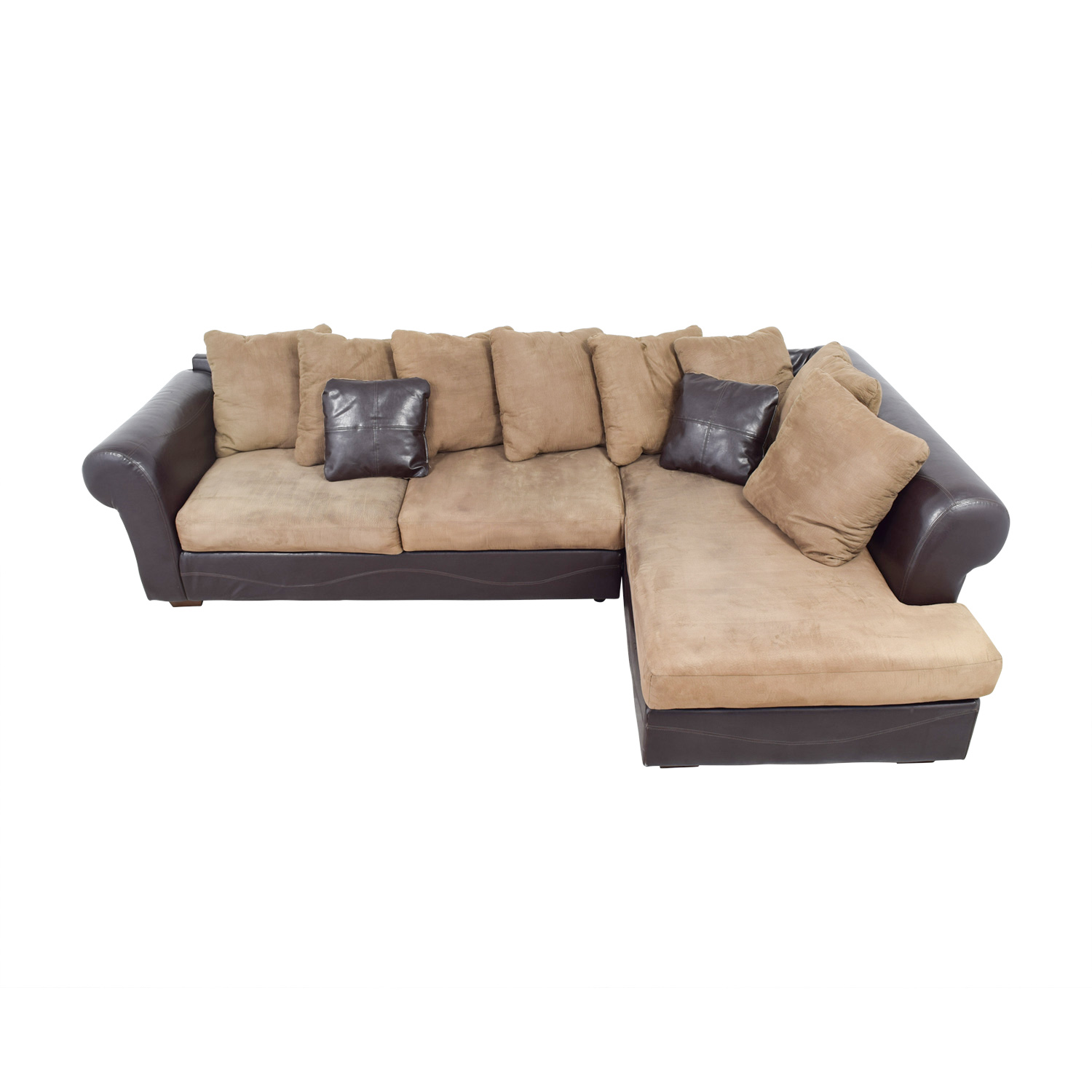 shop Ashley Furniture Brown Leather and Tan Microfiber Chaise Sectional Ashley Furniture Sofas
